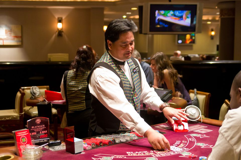 Dealer at a Las Vegas blackjack table