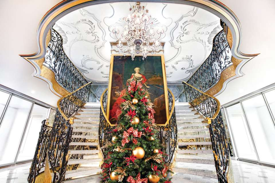 Uniworld Boutique River Cruises lobby of a cruise ship decorated for Christmas
