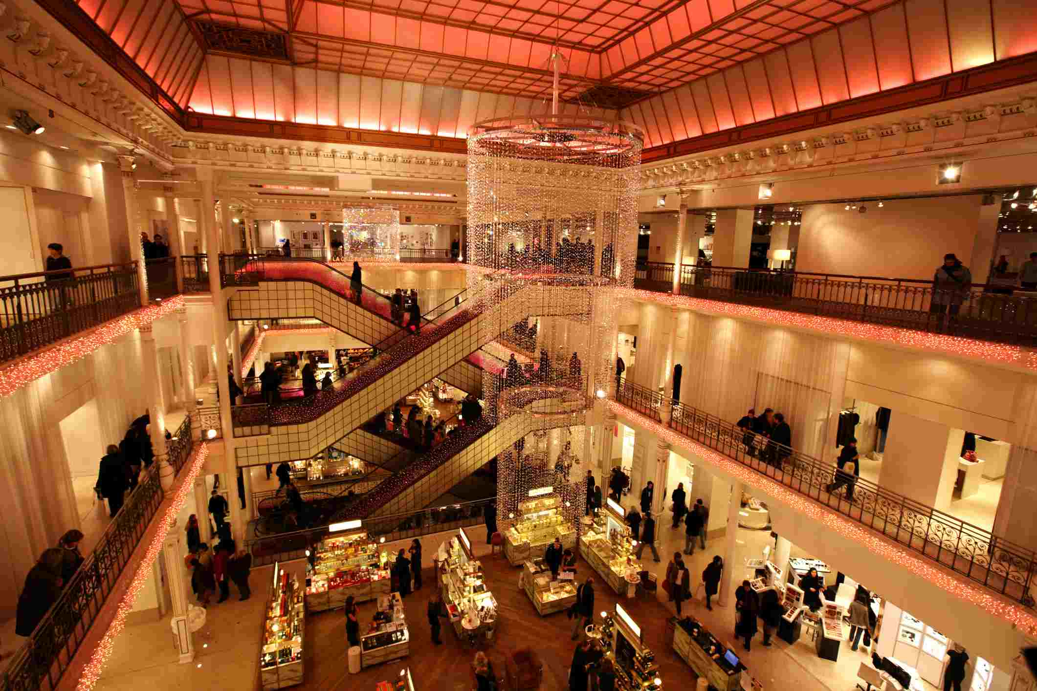 Interior of Le Bon Marche department store with large chandelier