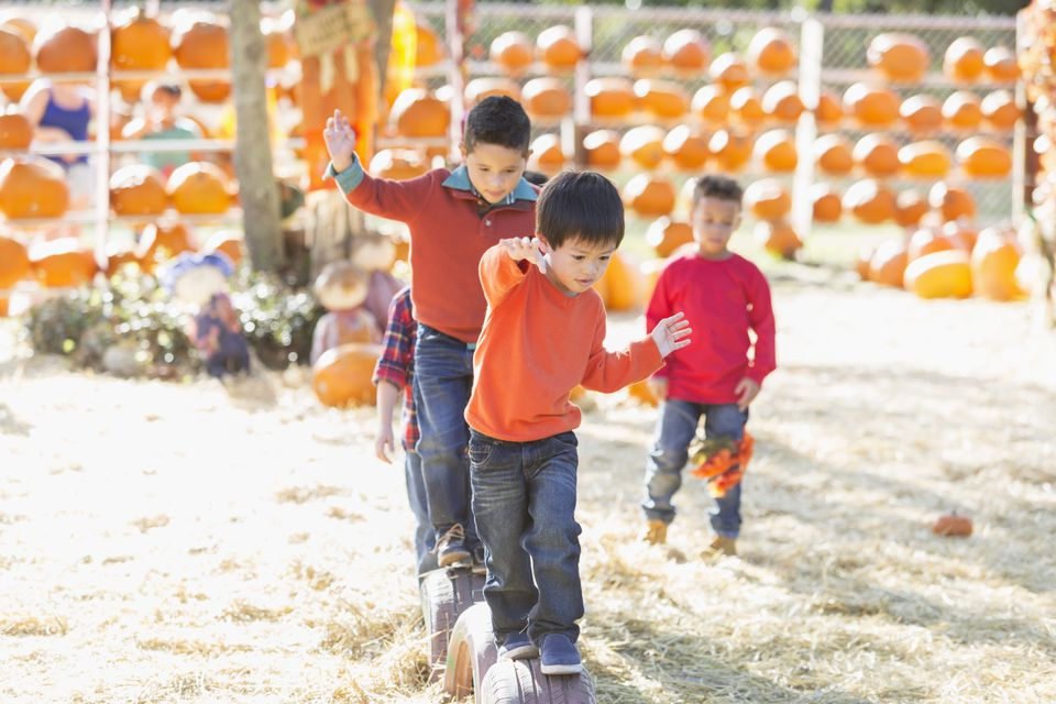 Boys having fun at fall festival