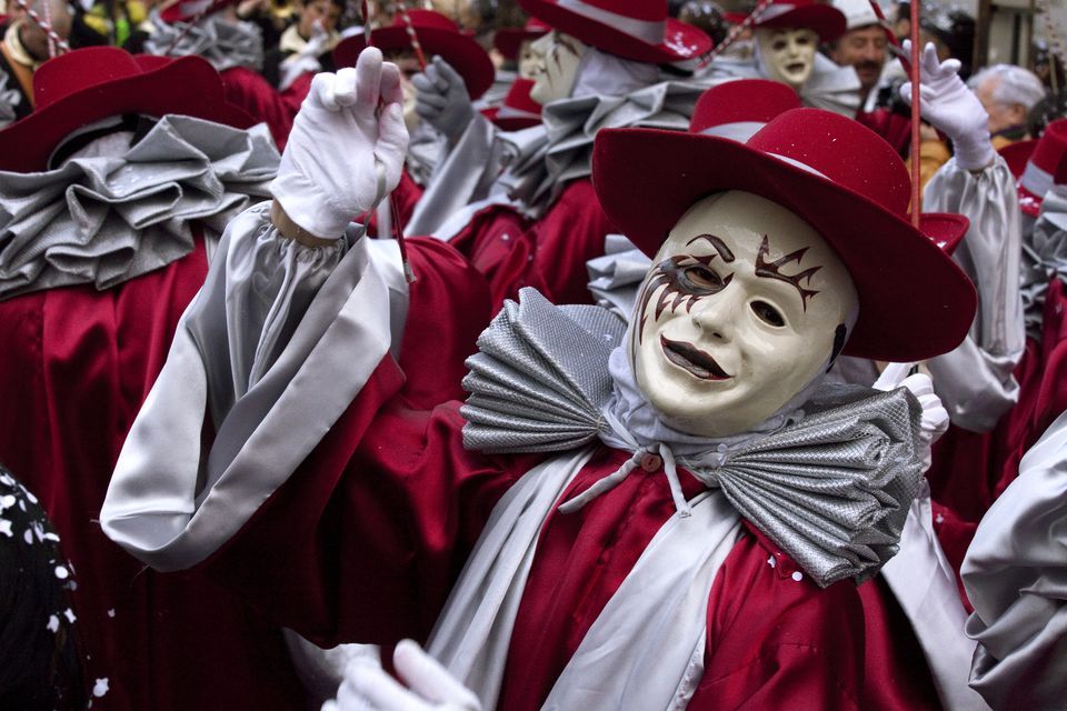 France, Aude, Limoux, masked Pierrot in Carnival