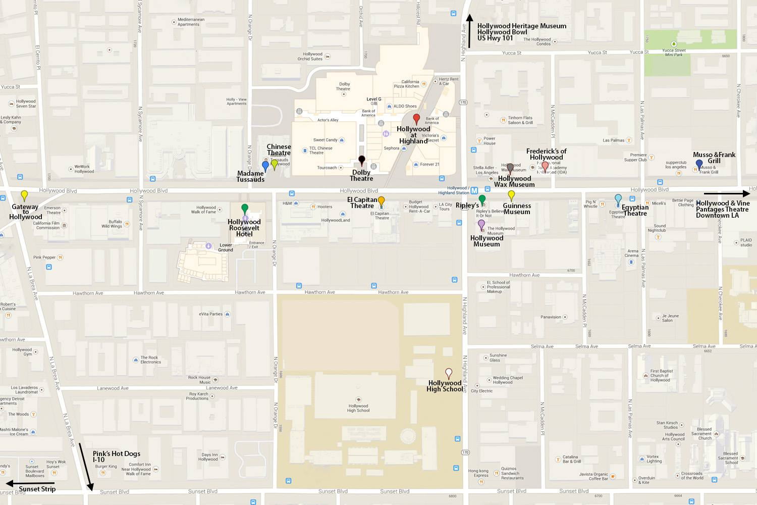 Map Of America Hollywood.What To See On A Tour Of Hollywood Boulevard