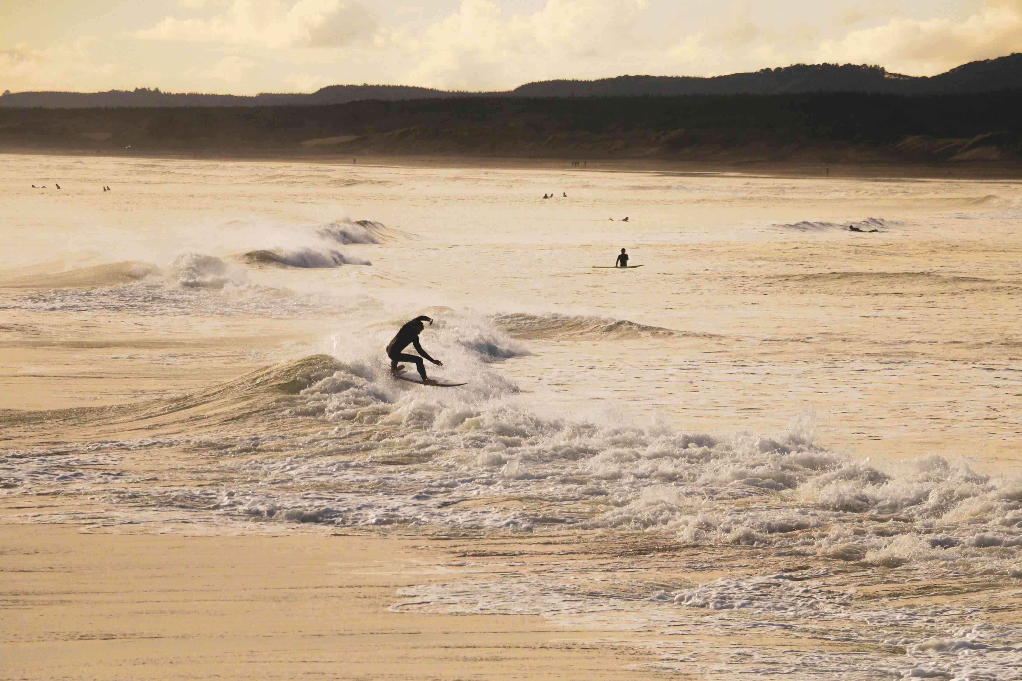A surfer on a beach in Auckland