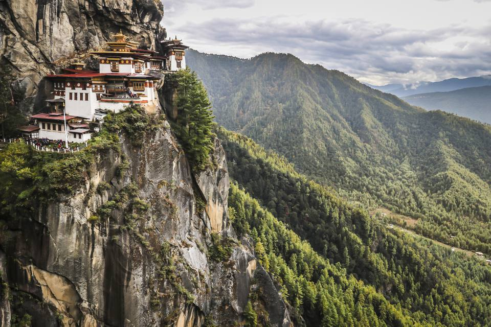 The Tiger's Nest Monastery perched on a cliff in Bhutan