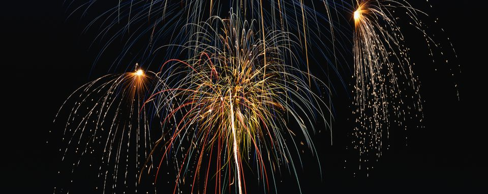 Fireworks exploding over Albuquerque on July 4