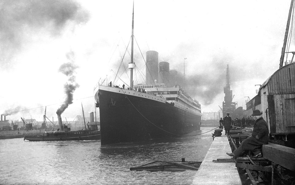 Titanic at the docks of Southampton in 1912.