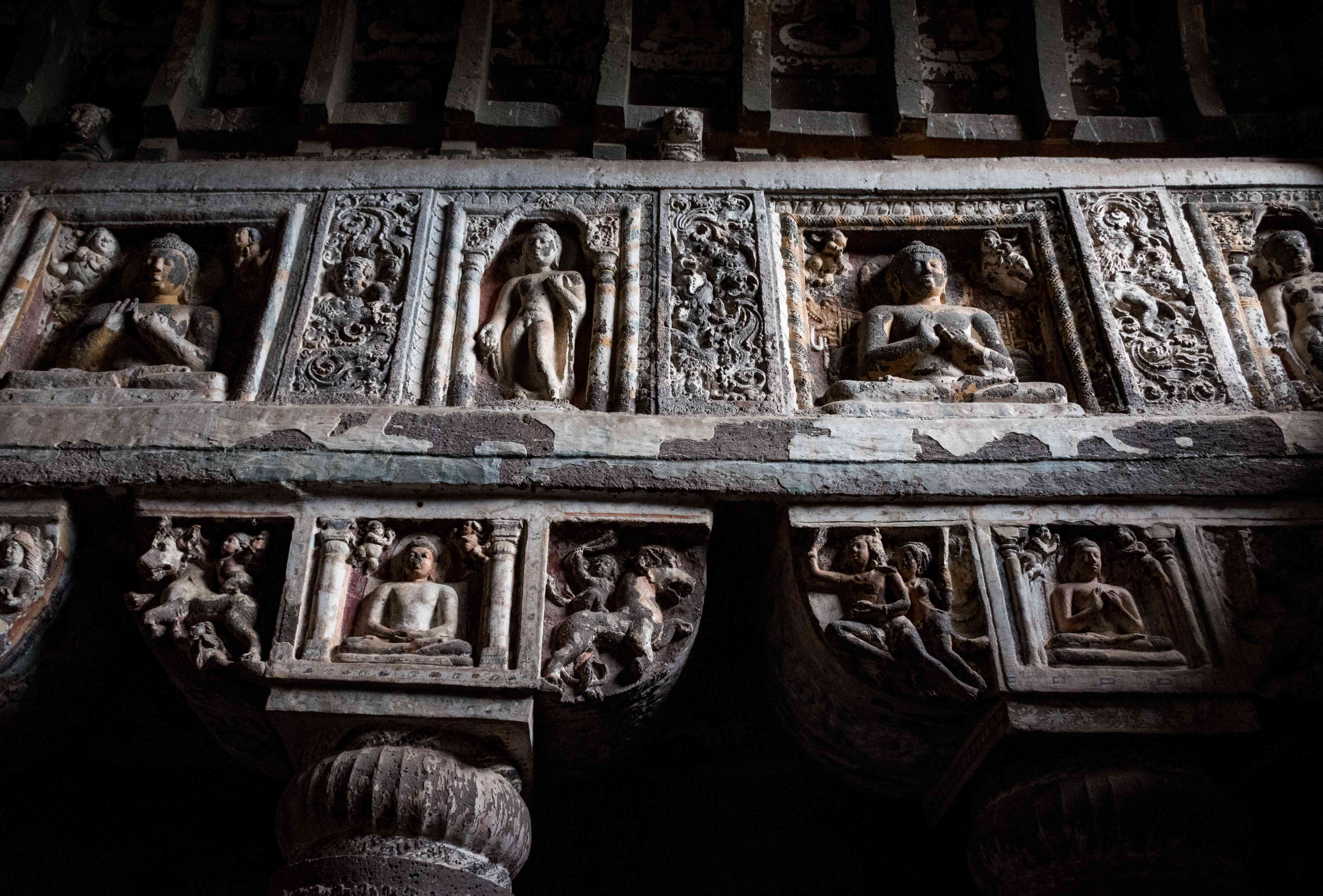 Ornamental carvings in the caves