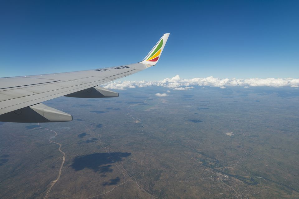Looking out window of Ethiopian Airlines Boeing 737 flying across Malawi