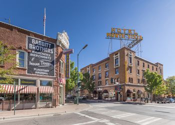 Historic city center of Flagstaff, Arizona, USA