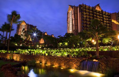 Aulani, a Disney Resort & Spa Including Taro Patch at Night