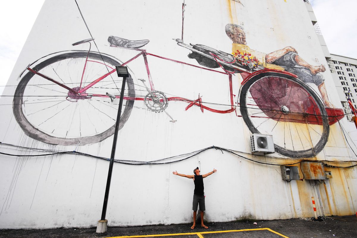 A large scale mural in Penang
