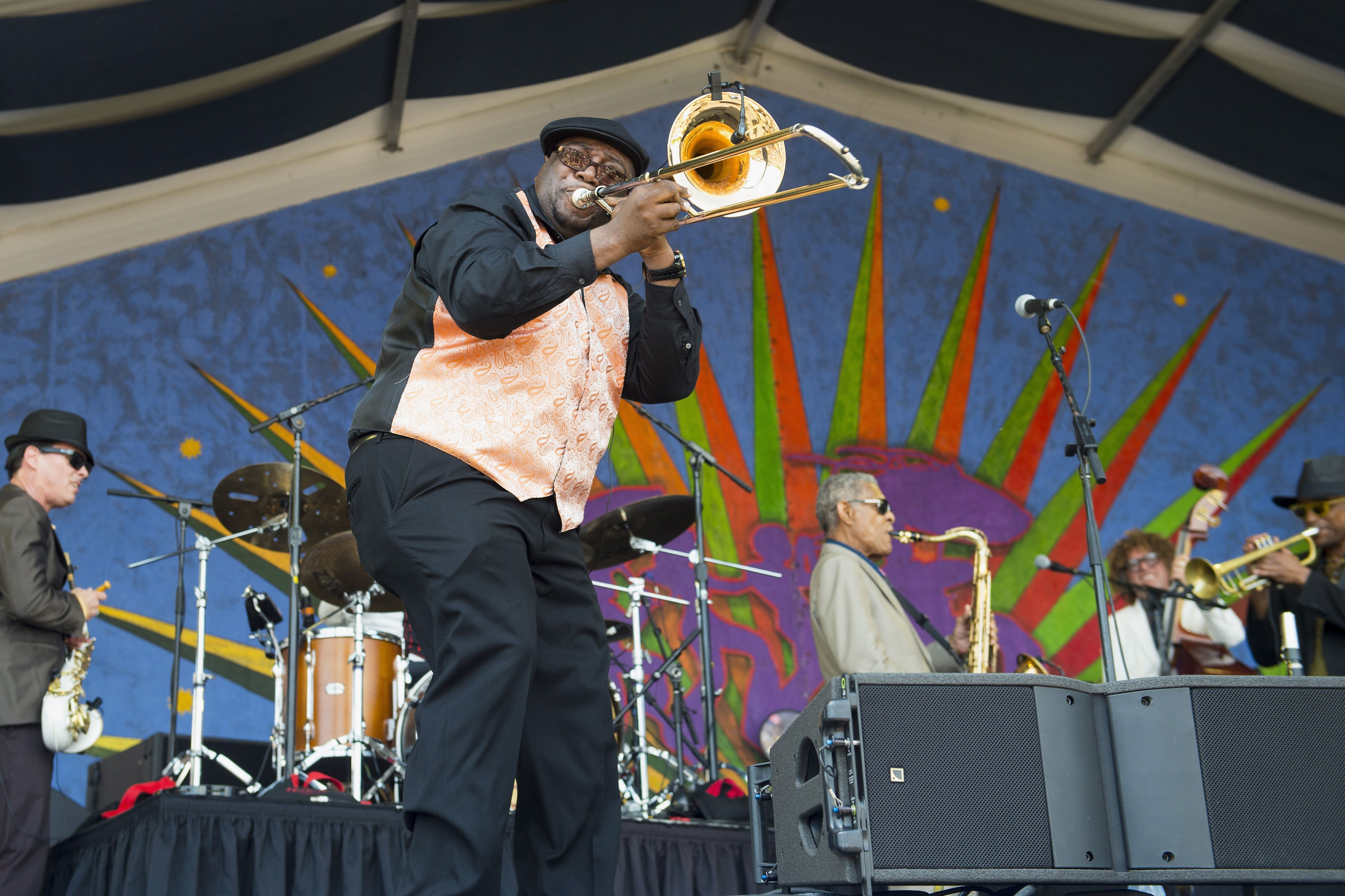 Trombone player at New Orleans Jazz Fest