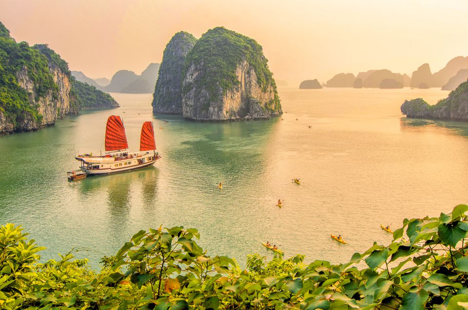 A boat sails Halong Bay in Vietnam
