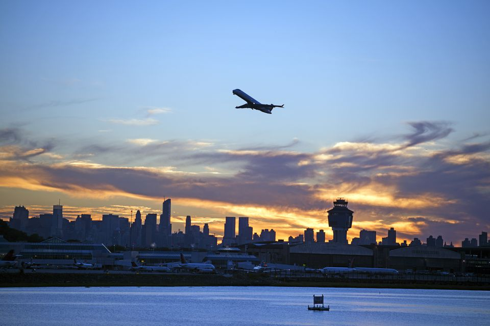 Airplane taking off at LaGuardia airport