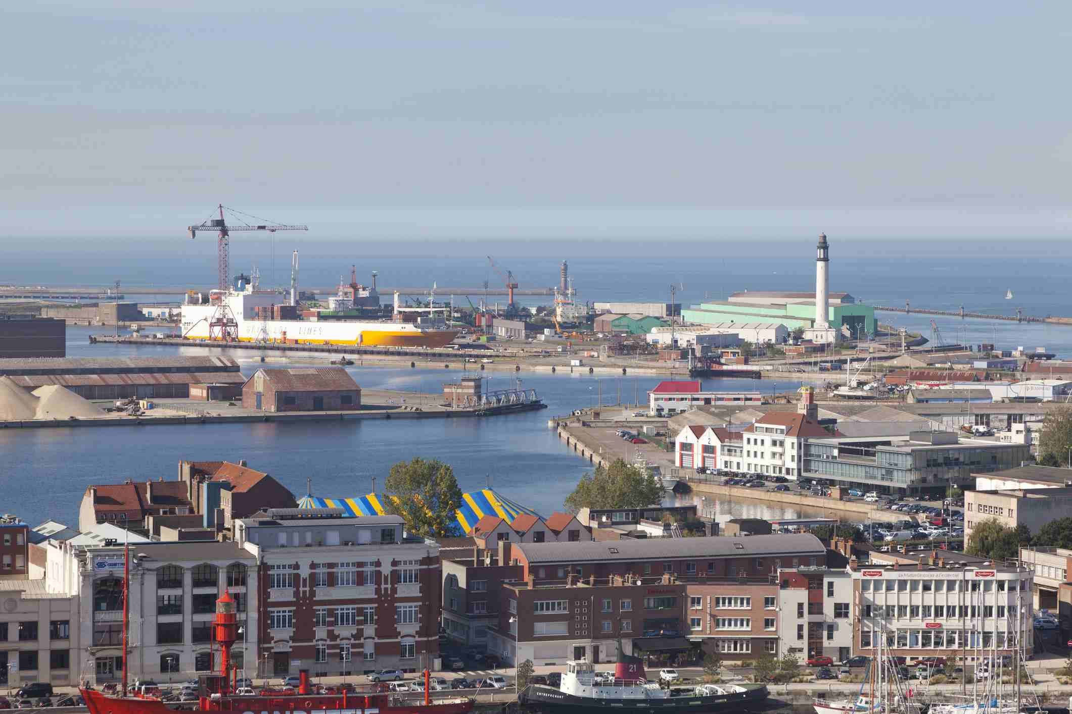 France, Nord, Dunkirk, view of the industrial port and lighthouse