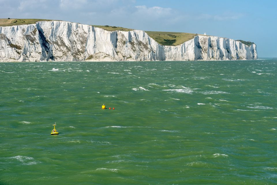 UK, Dover, view from stormy English Channel to chalk cliffs