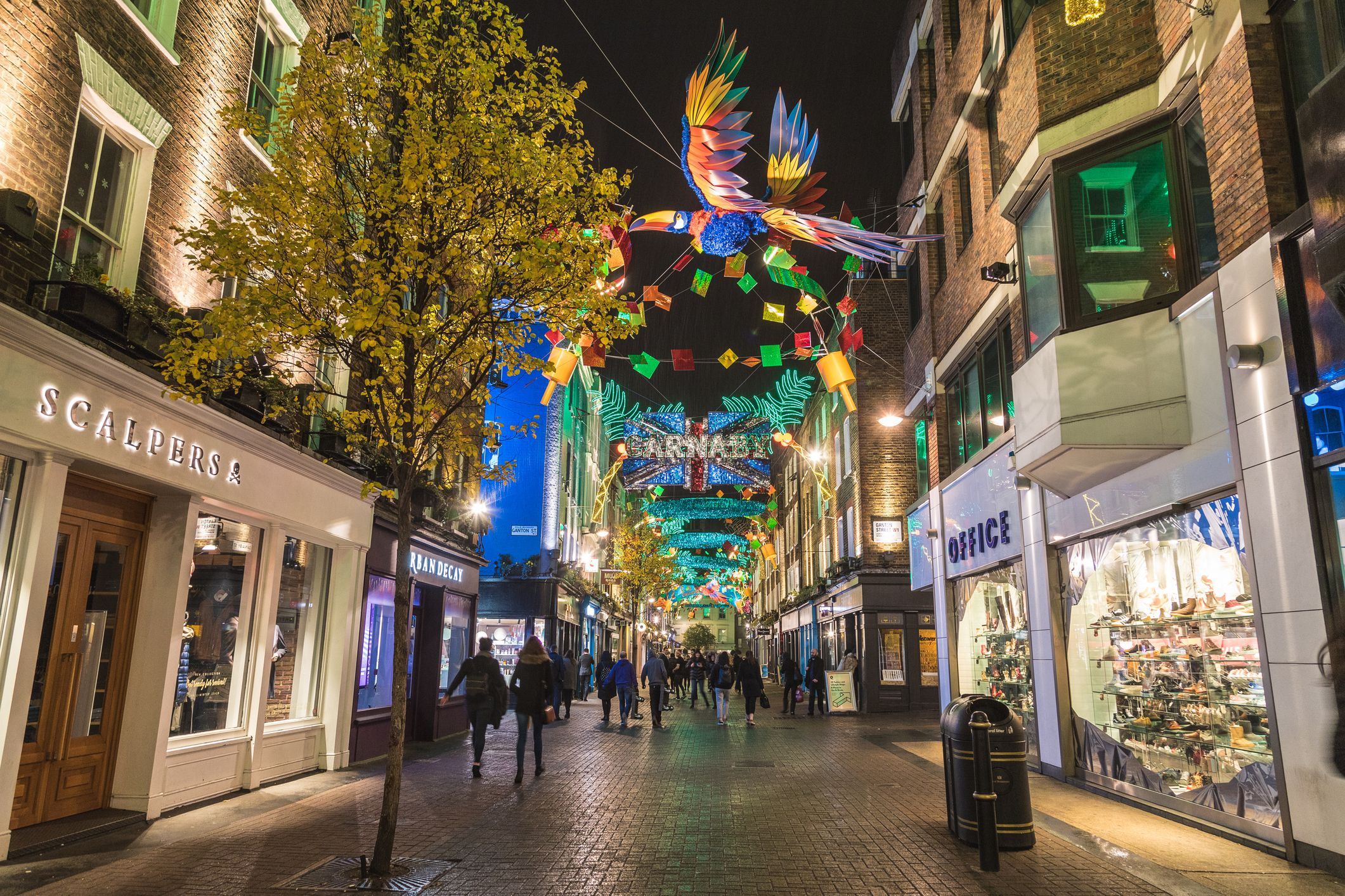 Carnaby Street during Christmas at night, London