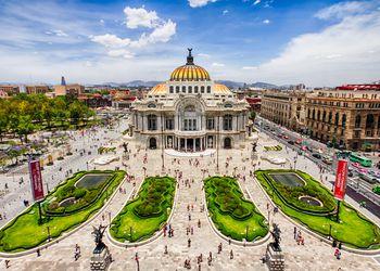 Aerial view of Mexico City's Fine Arts Palace (Palacio de Bellas Artes)