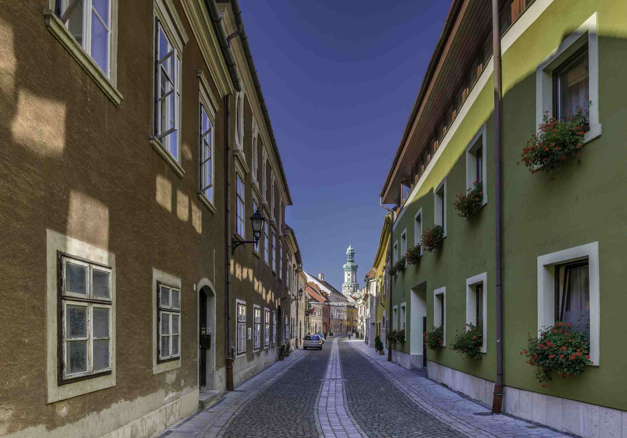 A colorful street in the center of Sopron