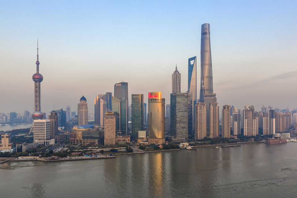 Shanghai Skyline and Huangpu River, with newest skyscraper, Shanghai Tower (2015)