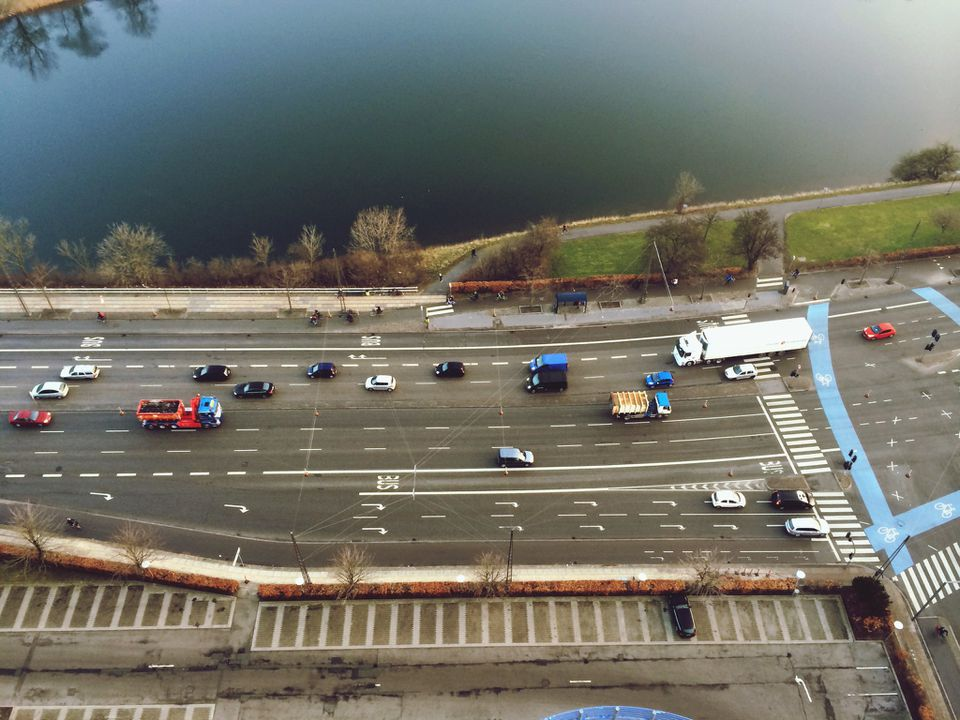Tilt shift image of vehicles on highway in Denmark