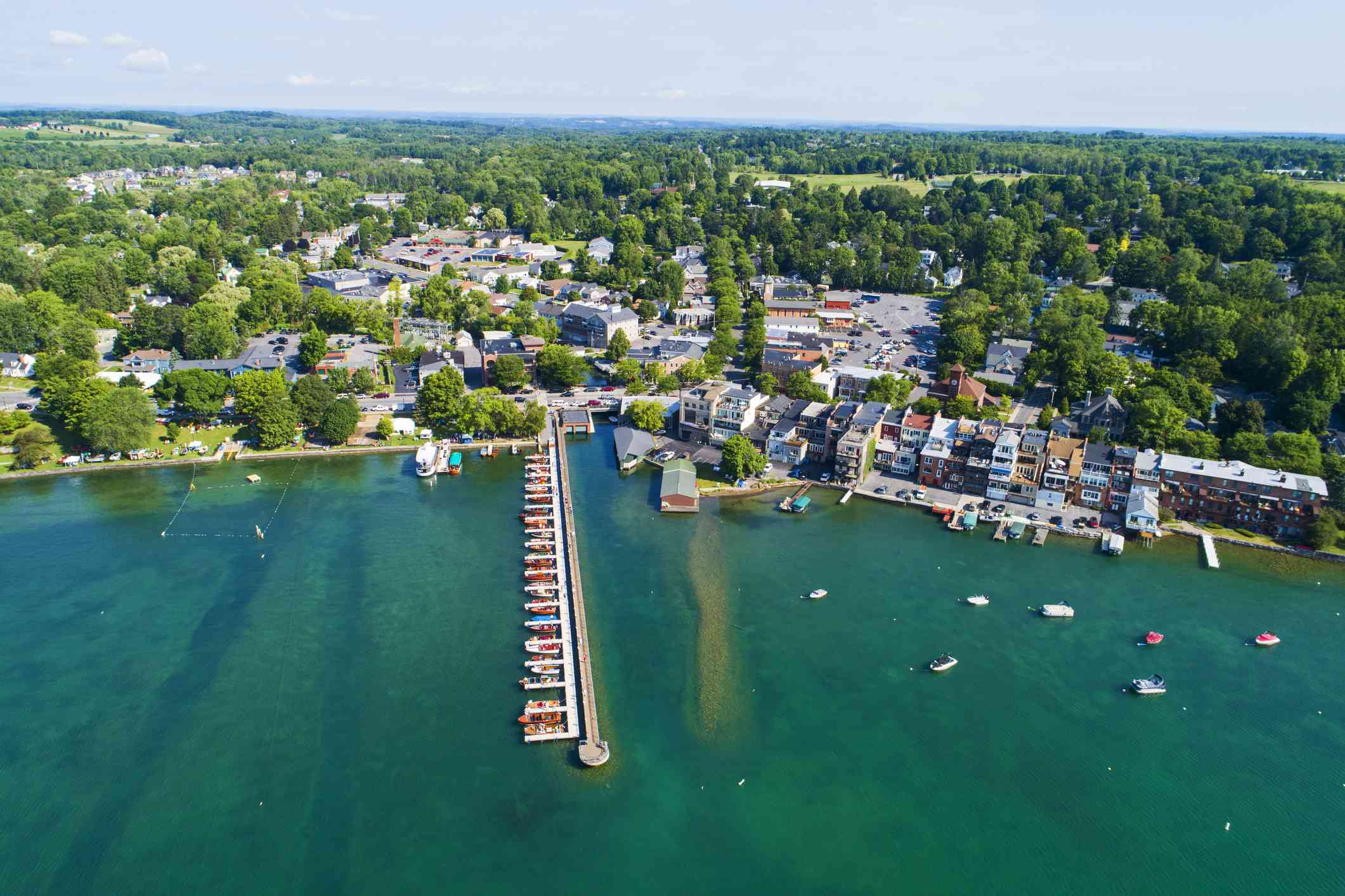 Area view of a harbor and buildings in the Finger Lakes town, Skaneateles Lake
