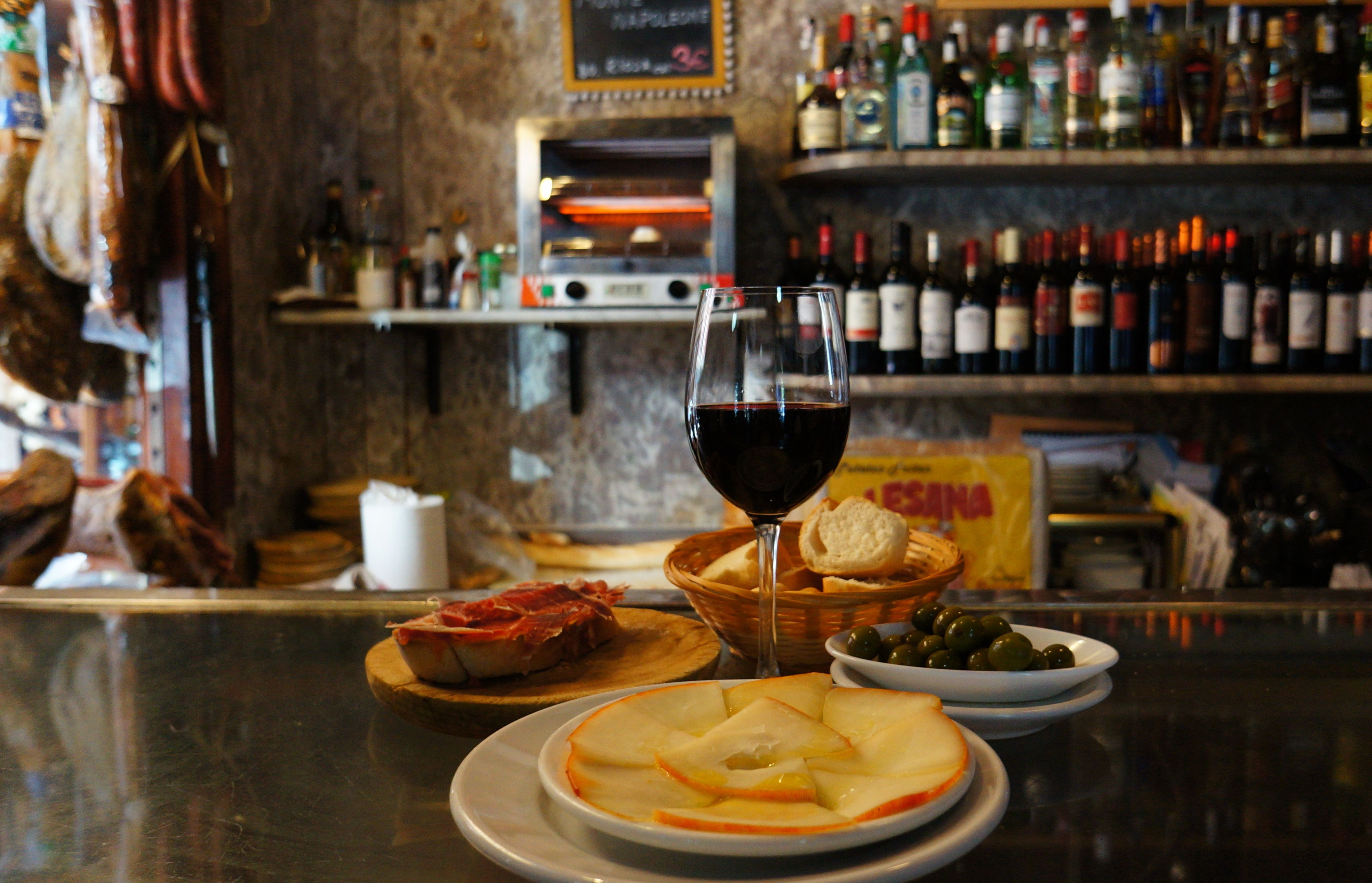 Wine, cheese, olives and ham at Stop Madrid