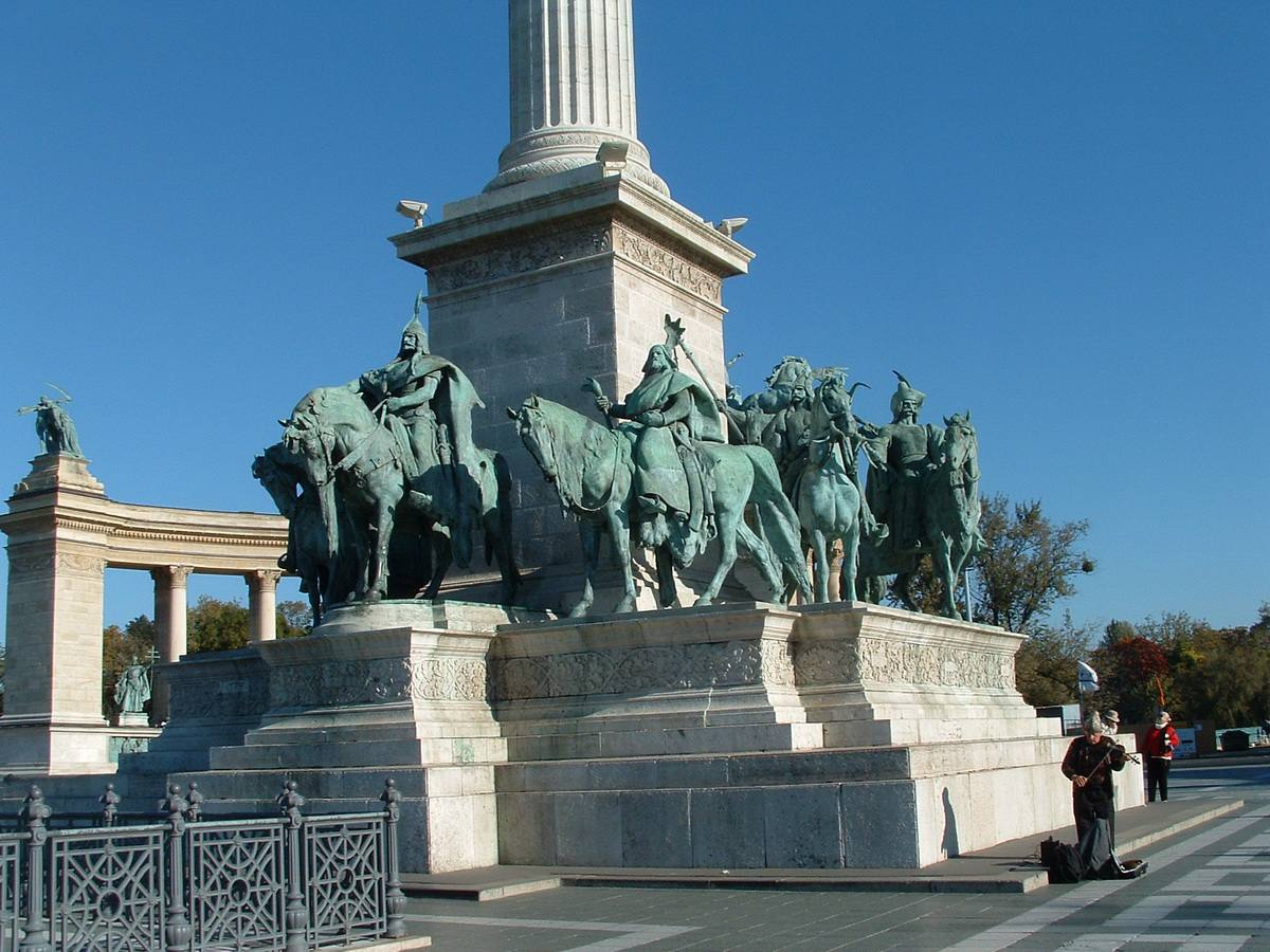 Millennium Monument at Heroes' Square in Budapest
