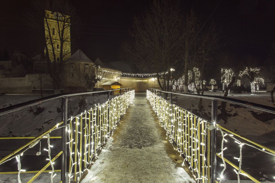 Bridge of light in the night in winter time
