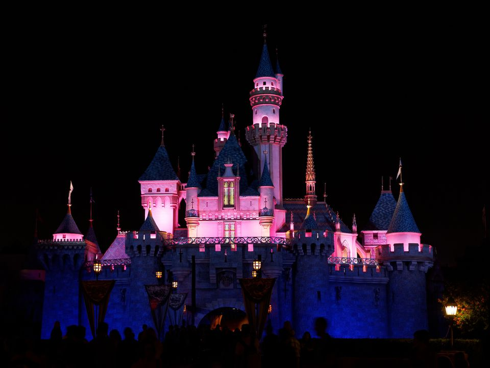 Night shot of Disney's Sleeping Beauty Castle in Fantasyland