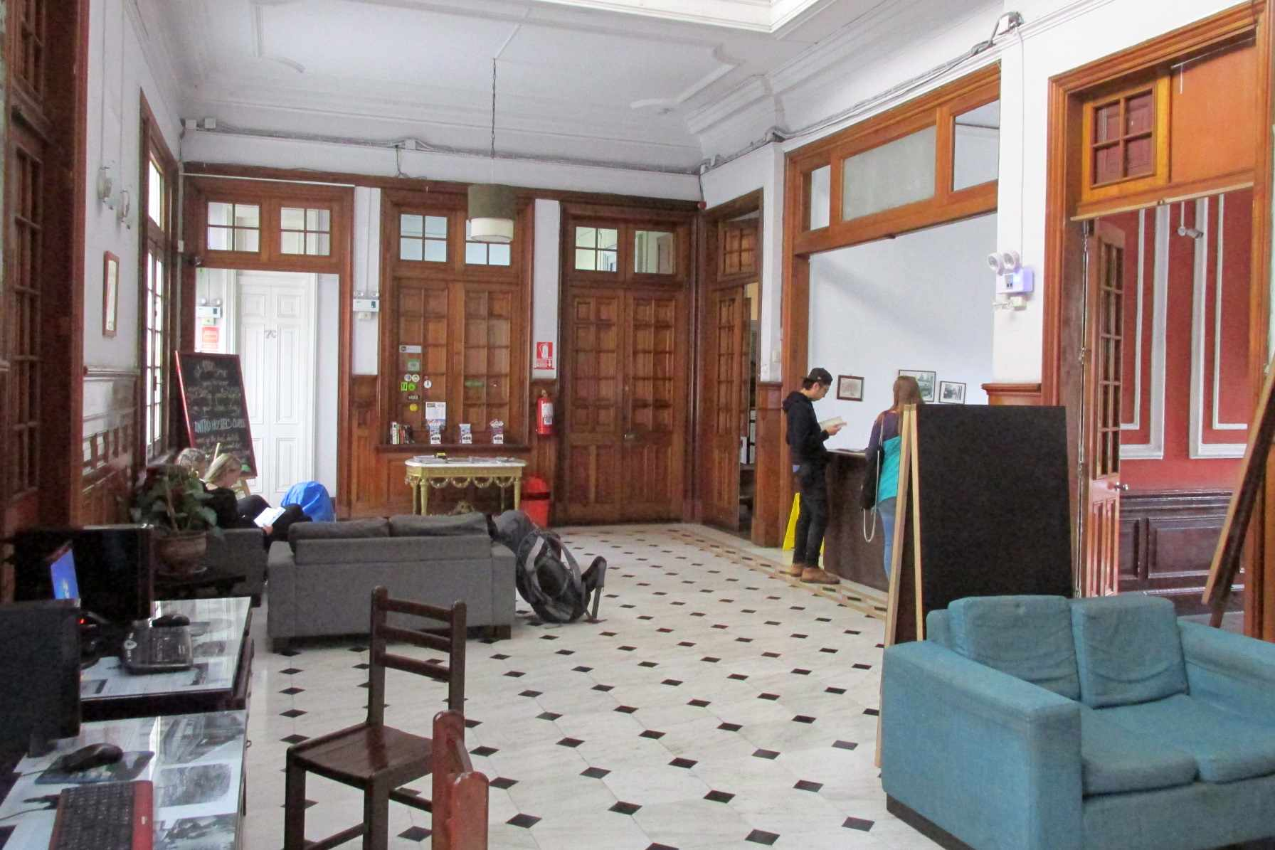 The reception area at 1900 Backpackers Hostel in downtown Lima.