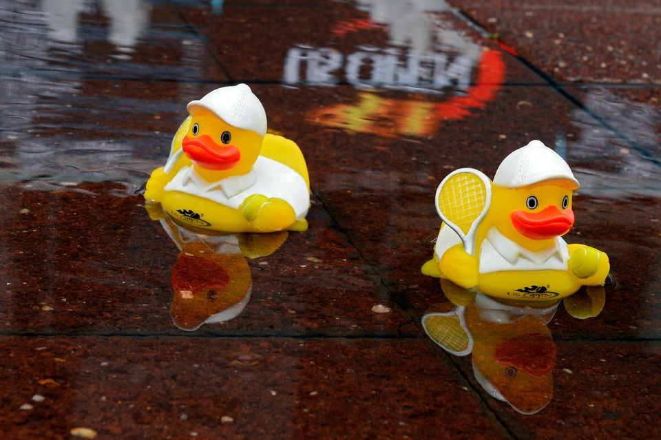 Rubber ducks in a puddle at the 2015 U.S. Open