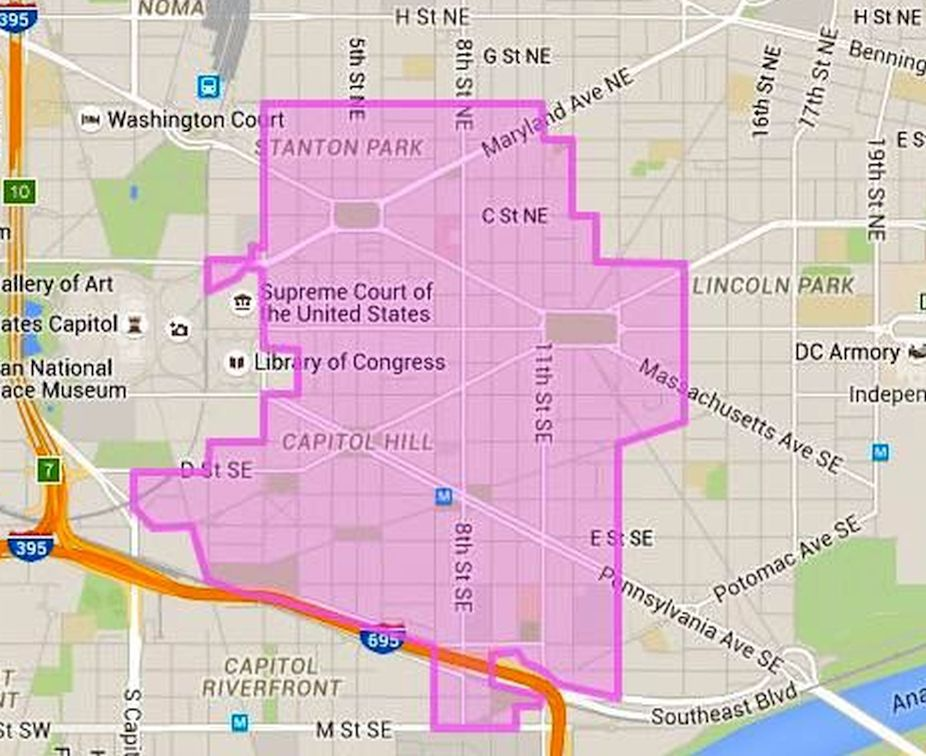 Se Dc Map.Where Is Capitol Hill In Washington