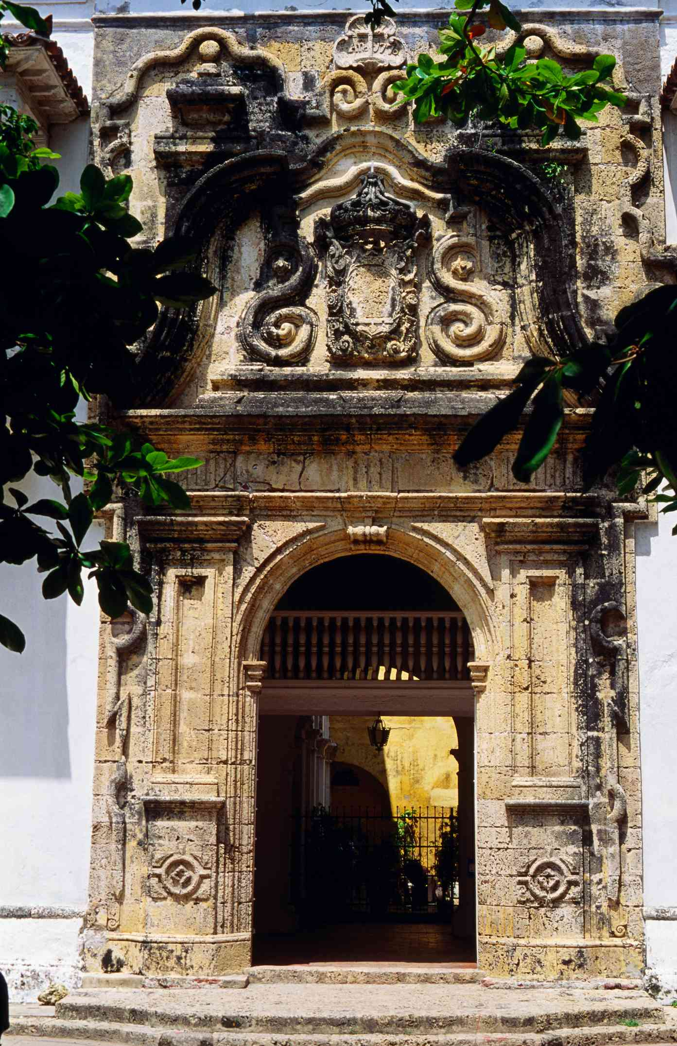 Carved doorway on the Palace of the Inquisition, completed in 1776, and is a good example of Colonial architecture - Cartagena, Bolivar