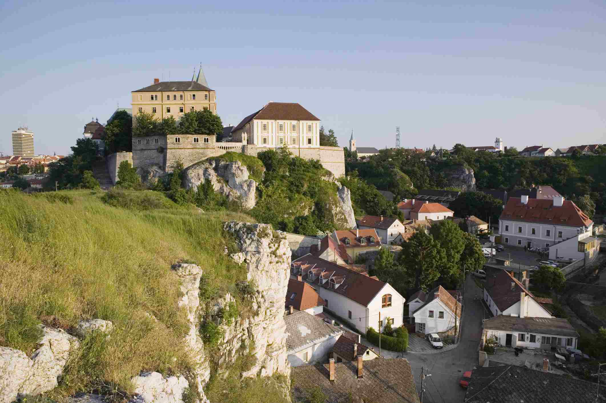 Hungary, Lake Balaton Region, Veszprem, Castle Hill seen from Benedek Hill