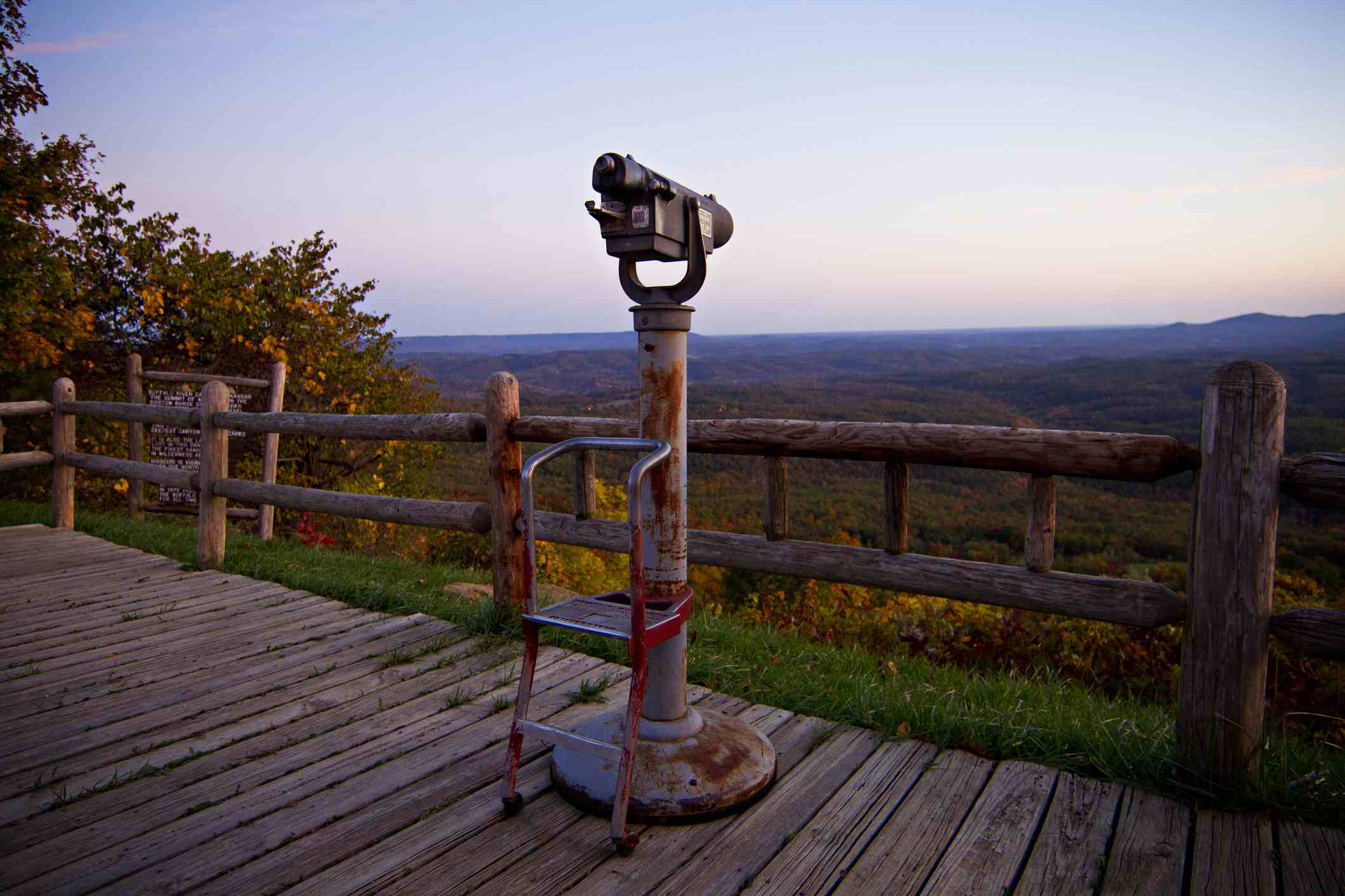 Coin-operated telescope at a Highway 7 in the Ozark Mountains of Arkansas.