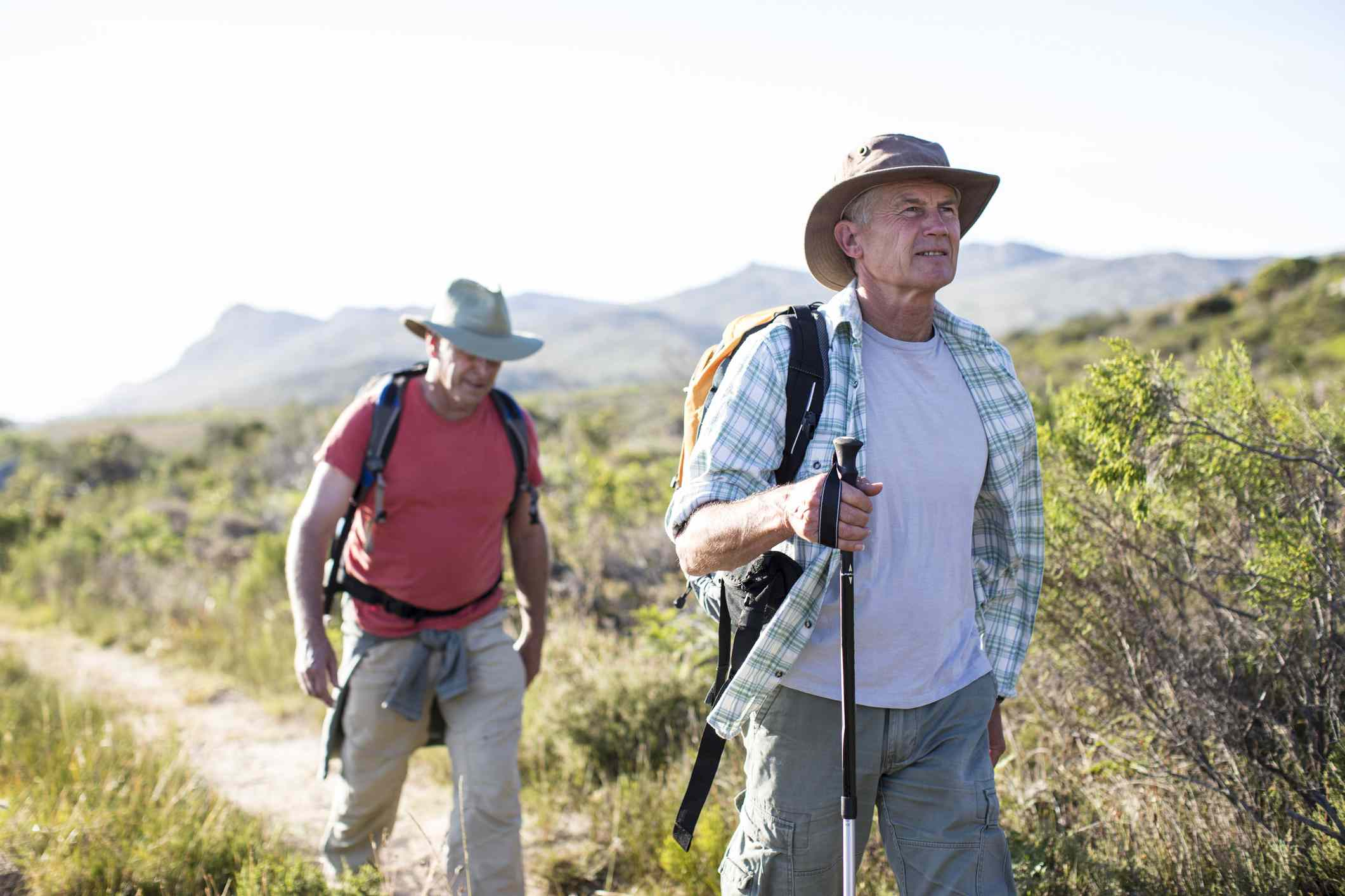 Two older men on a hiking trail in South Africa