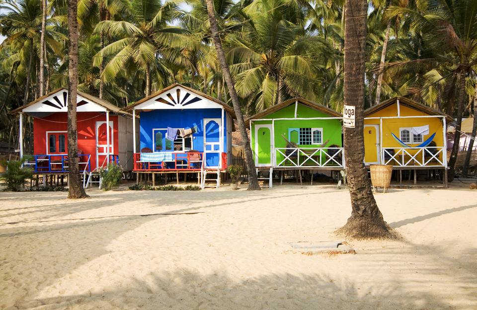 Huts on Palolem beach, Goa.