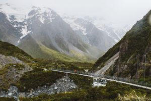 A person in a red jacket crossing a hanging bridge on the Hooker Valley Trail