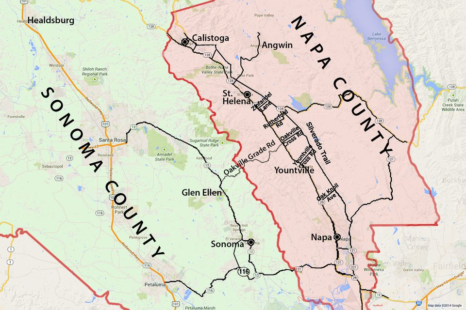 Wine Country Map Sonoma And Napa Valley