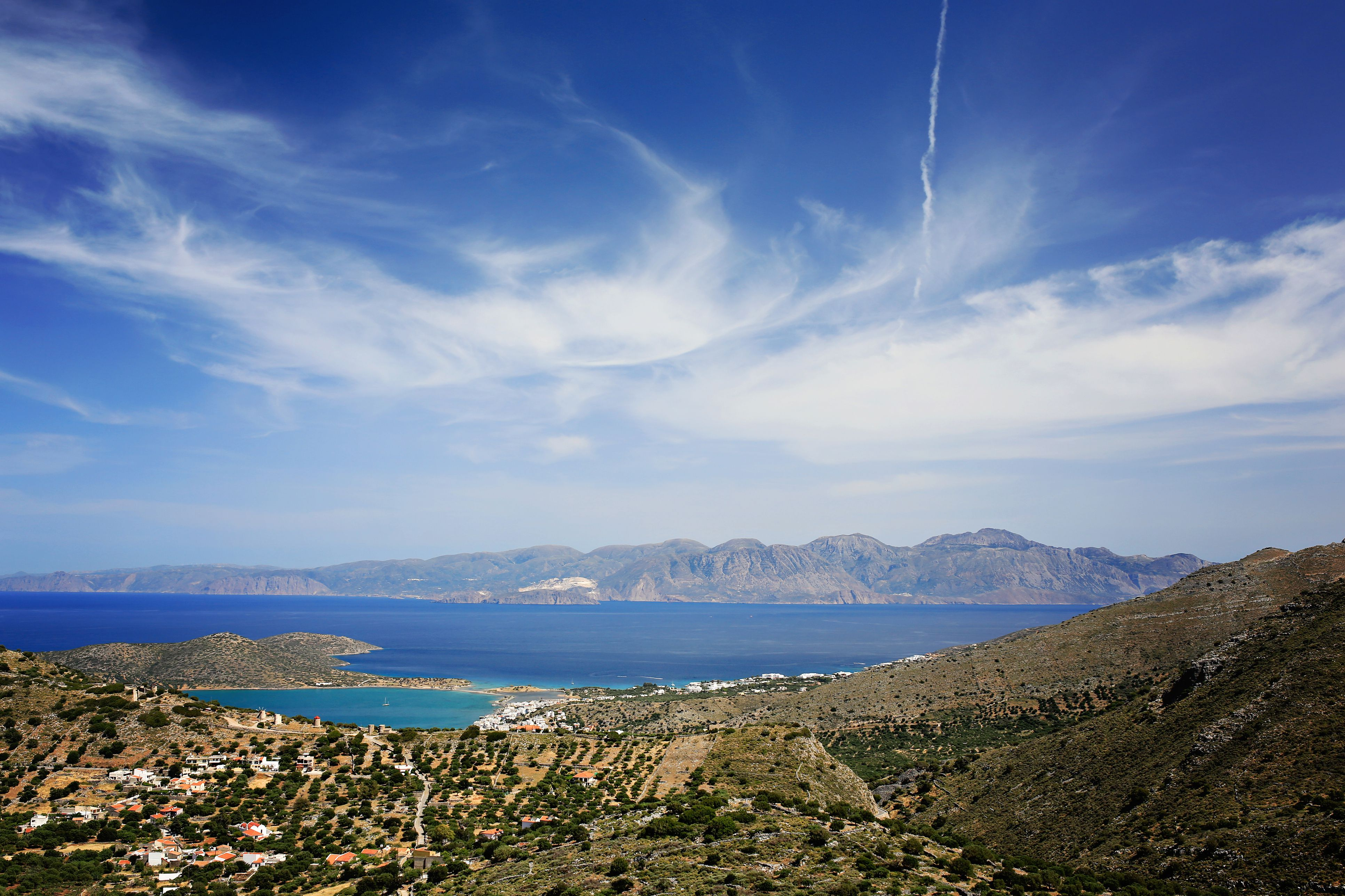The panoramic view of the town of Elounda, Crete