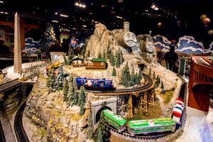 Holiday train display at North Park Shopping Center