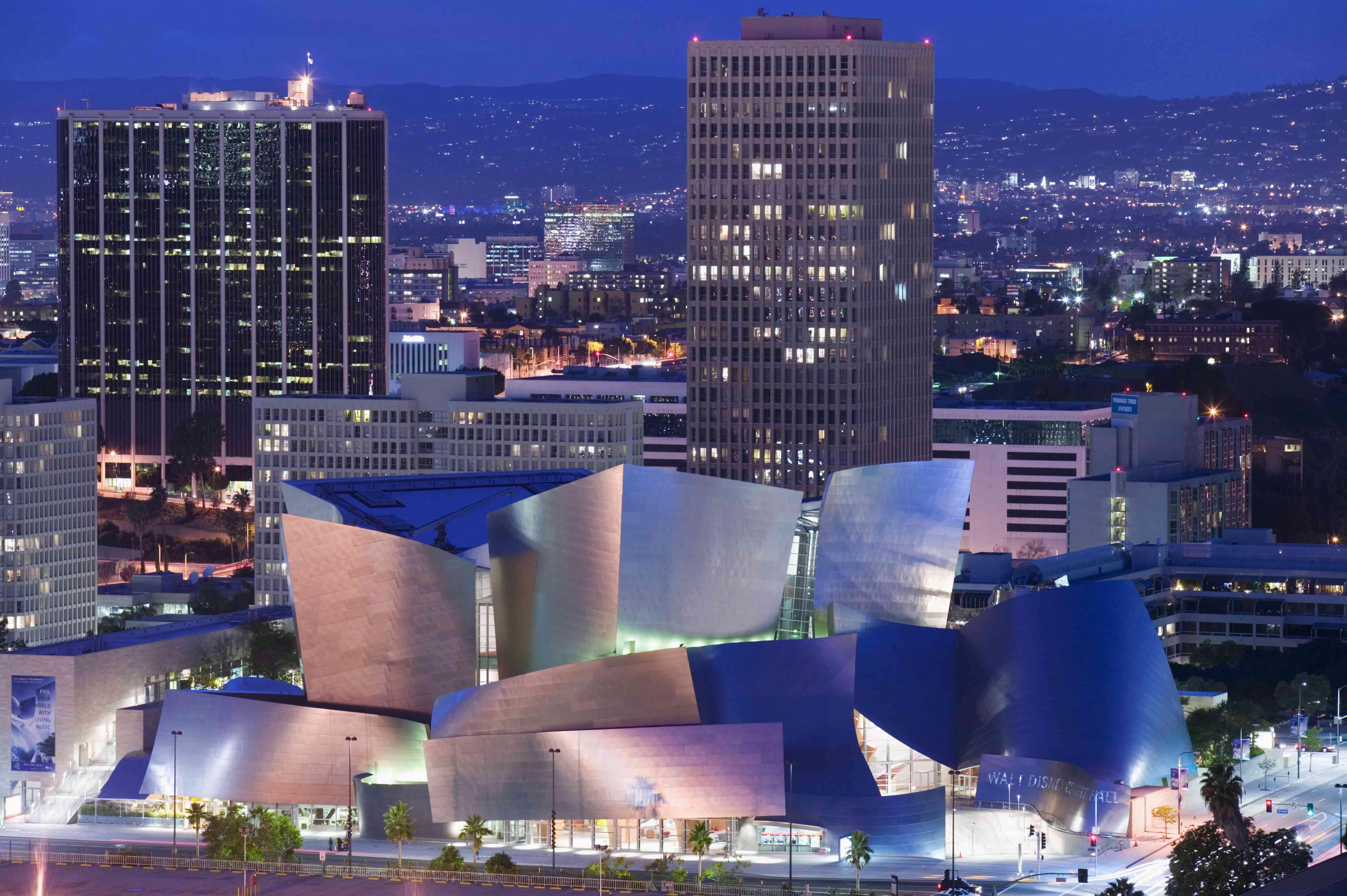 USA, California, Los Angeles, Walt Disney Concert Hall, elevated view