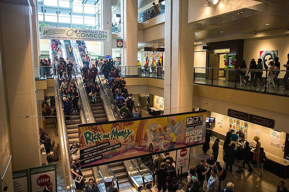 Crowds of fans fill the Washington State Convention Center for Emerald City Comicon on March 27, 2015 in Seattle, Washington