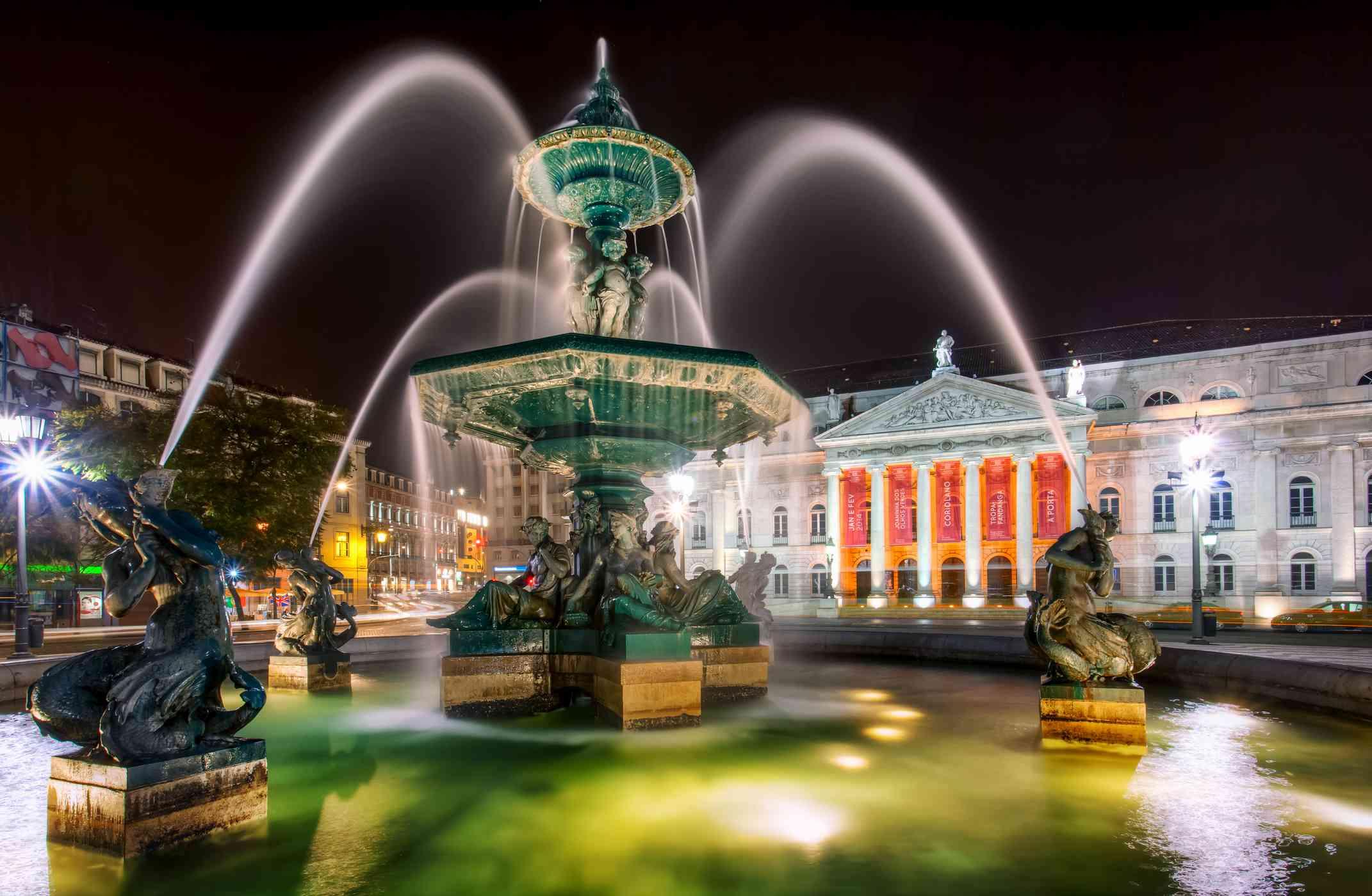 Lisbon fountain at night