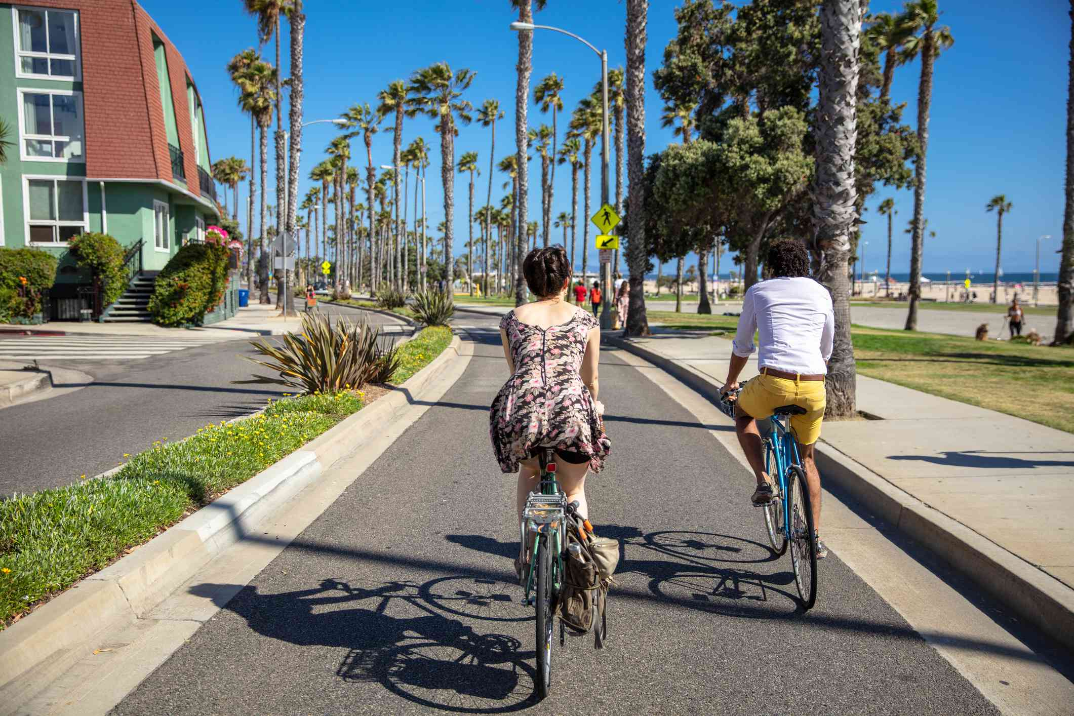 Bicycling Couple in Santa Monica, CA