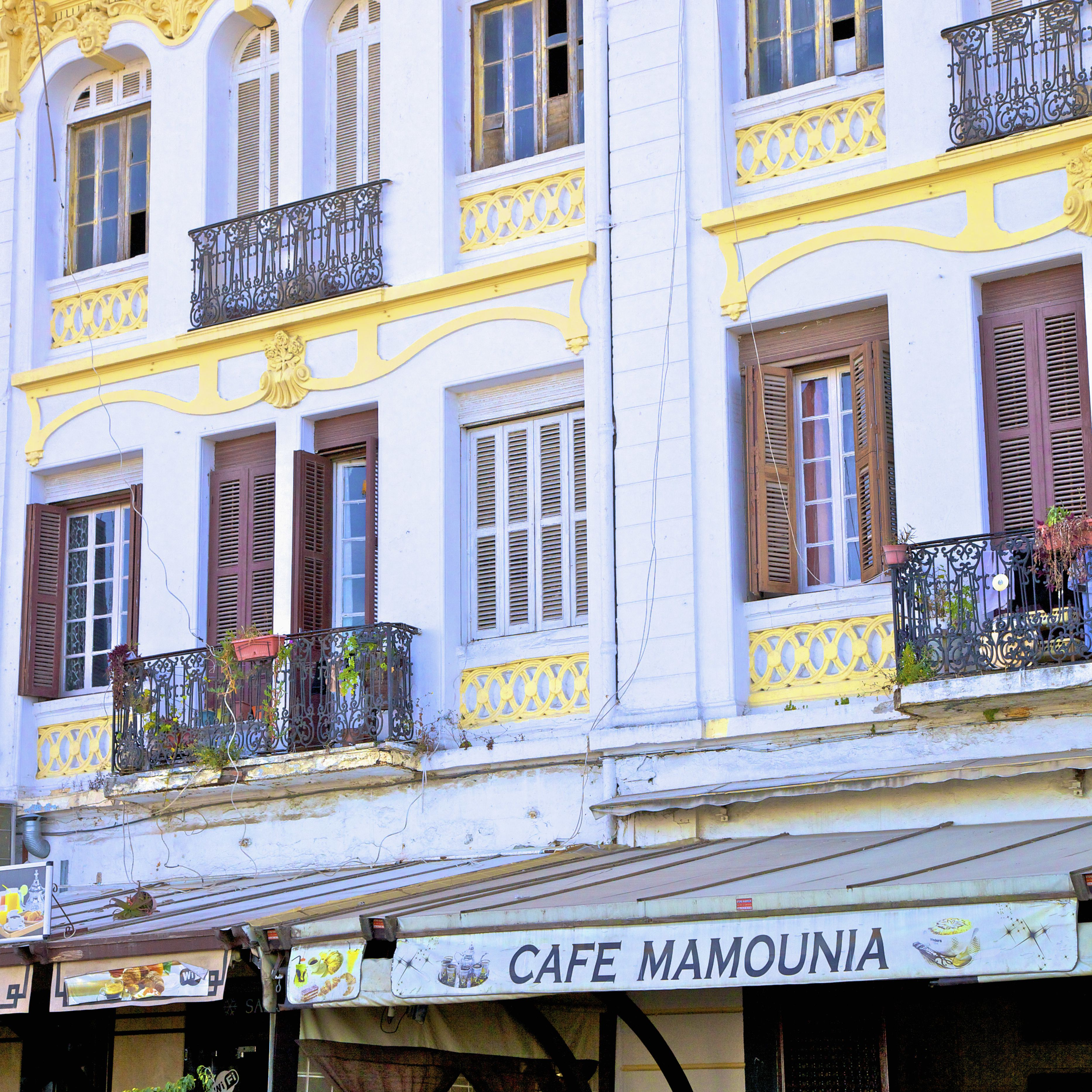 Cafe and Old Colonial Buildings on Avenue D'Espagne, Tangier, Morocco, North Africa