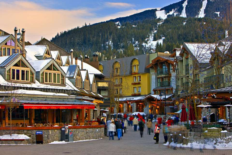 Pedestrian activity and shops in the Whistler Village in Canada