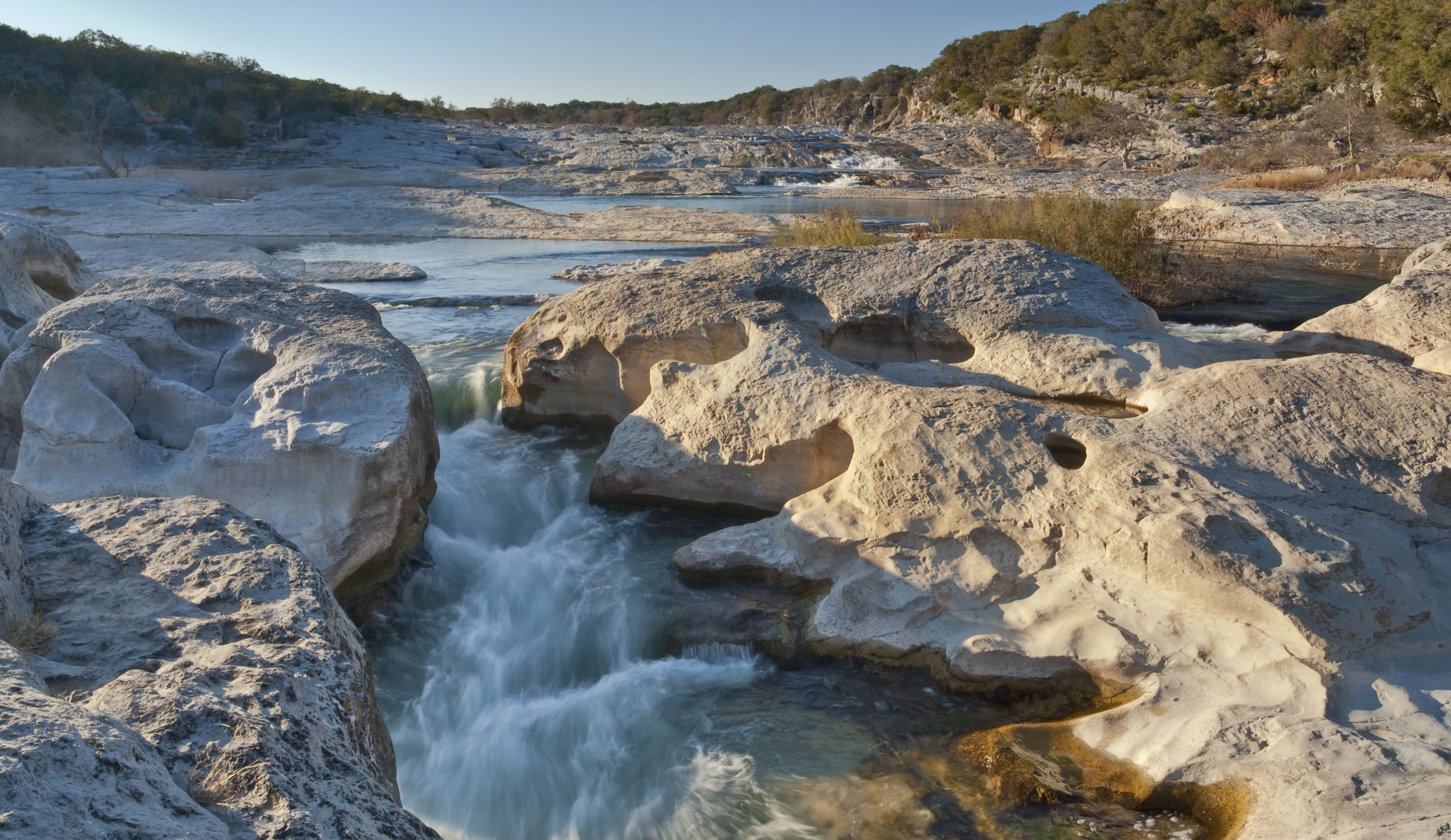 Channel of Pedernales River at sunset, Pedernales Falls State Park, Hill Country.