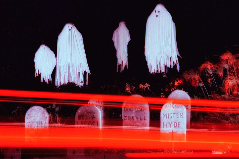 ghosts and gravestones at Halloween in Los Angeles